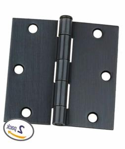 """Dynasty Hardware 3-1/2"""" Door Hinges Square Corner, Oil Rubbe"""