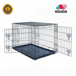 """30"""" Dog Crate Kennel Folding Pet Cage Metal 2Door With Tray"""