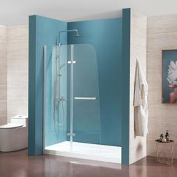 """44"""" x 72"""" Frameless Hinged Shower Door Clear Tempered Glass"""