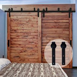 4FT-20FT Country Bypass Double Wood Sliding Barn Door Hardwa