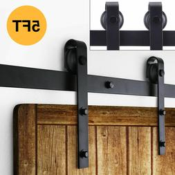 5FT Heavy Steel Sliding Barn Closet Single Wood Door Rollers