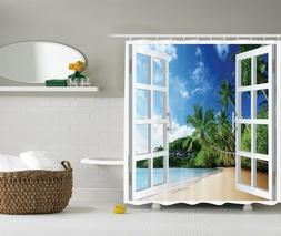 French Door Tropical Island Graphic Shower Curtain Paradise