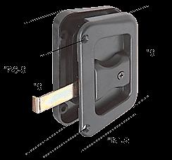 """Black Sliding Screen Door Latch and Pull With 3"""" Screw Holes"""