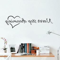 Never stop dreaming inspirational quotes wall art bedroom de
